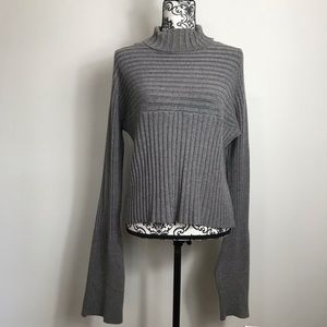 JCL Gray Ribbed Bell Sleeve Sweater OS